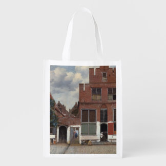 View of houses in Delft by Johannes Vermeer Reusable Grocery Bag
