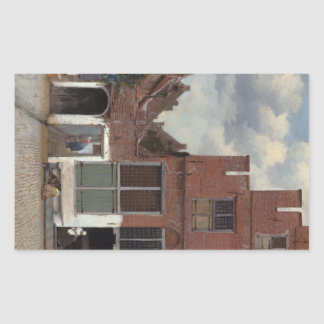 View of houses in Delft The Little Street Rectangular Sticker
