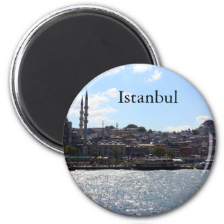 View of Istanbul Harbor 2 Inch Round Magnet