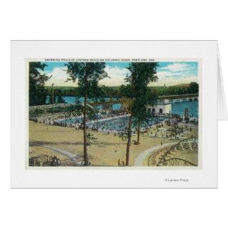 View of Jantzen Beach Swimming Pools Greeting Card