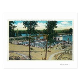 View of Jantzen Beach Swimming Pools Postcard
