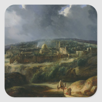 View of Jerusalem from the Valley of Jehoshaphat Square Sticker