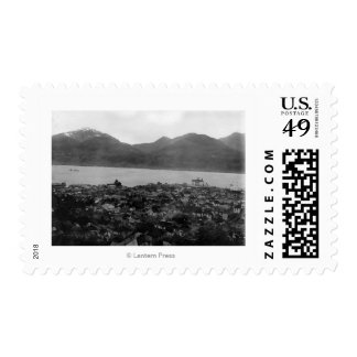 View of Juneau, Alaska and S.S. Burnside in Postage