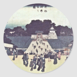 View of Kagurazaka - Ushigome bridge to Edo Castle Classic Round Sticker