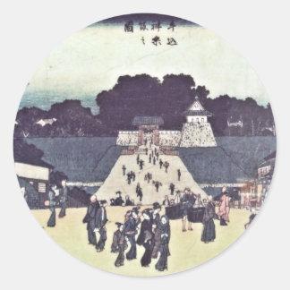 View of Kagurazaka - Ushigome bridge to Edo Castle Classic Round Sticker