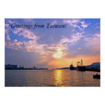 View of Kaohsiung Harbor in Taiwan at Sunset Posters