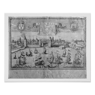 View of La Rochelle, signed by Jollain (engraving) Poster