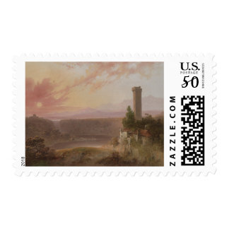View of Lake Nemi at Sunset Postage