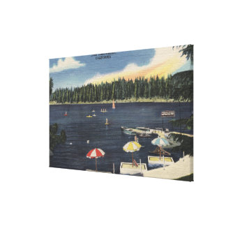View of Lake, Tree-Lined Shore Canvas Print