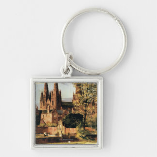 View of Lichfield Cathedral Silver-Colored Square Keychain