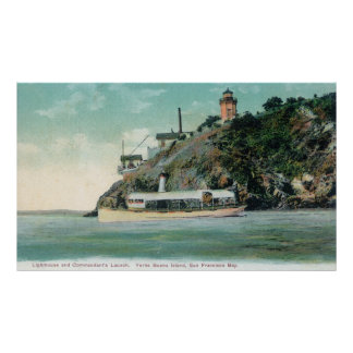 View of Lighthouse and Commandant's Launch Posters