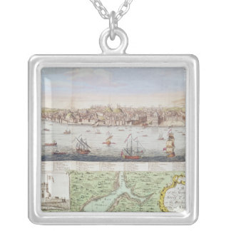 View of Lisbon, 1755 Silver Plated Necklace