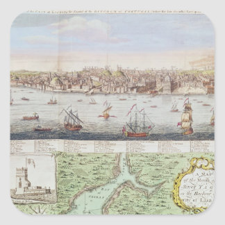 View of Lisbon, 1755 Square Sticker