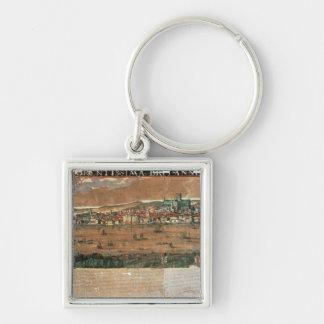 View of London with the Swan Silver-Colored Square Keychain