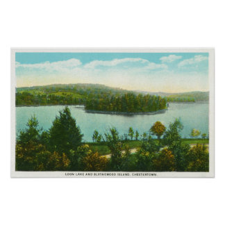 View of Loon Lake and Blythewood Island Poster