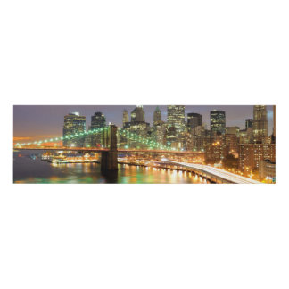 View of Lower Manhattan and the Brooklyn Bridge Panel Wall Art