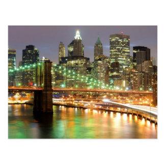 View of Lower Manhattan and the Brooklyn Bridge Postcard