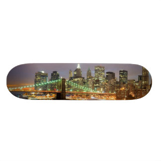 View of Lower Manhattan and the Brooklyn Bridge Skateboard