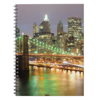 View of Lower Manhattan and the Brooklyn Bridge Spiral Notebooks