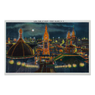 View of Luna Park at Night Poster