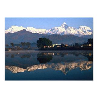 View of Macchapuchhre over Pokhara Lake, Pokhara, 5x7 Paper Invitation Card