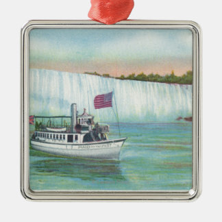 View of Maid of the Mist Boat Square Metal Christmas Ornament