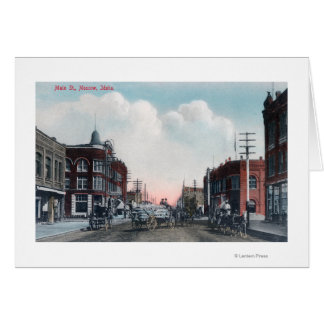 View of Main Street and Horse Carriages Card
