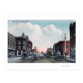 View of Main Street and Horse Carriages Postcard