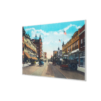 View of Main Street with Model-T Ford Cars Canvas Print