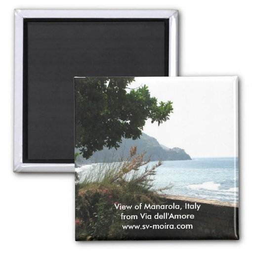 View of Manarola, Italy from Via dell'Amore 2 Inch Square Magnet
