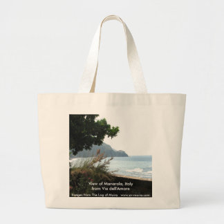 View of Manarola, Italy from Via dell'Amore Large Tote Bag