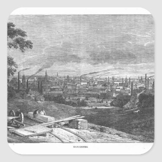 View of Manchester, engraved by T.Gustyne Square Stickers