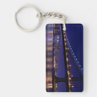 View of Manhattan bridge at night Double-Sided Rectangular Acrylic Keychain