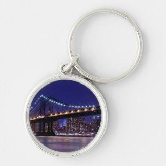 View of Manhattan bridge at night Key Chain