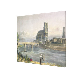 View of Mantes, from 'Views on the Seine', engrave Canvas Print