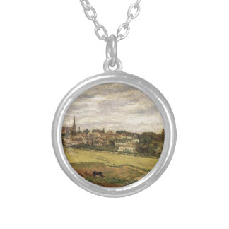 View of Marly le Roi by Camille Pissarro Round Pendant Necklace