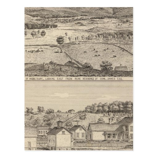 View of Middlebury and farm Postcard