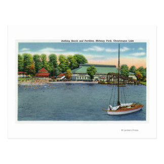 View of Midway Park Beach and Pavilion Postcard