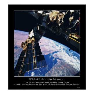 View of Mir Space Station over Sinai Peninsula Poster