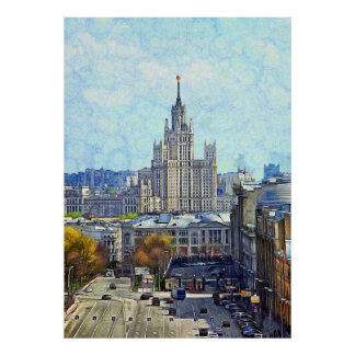 View of Moscow with high-rise building Poster