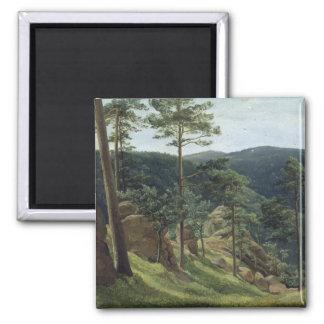 View of Mount Brocken, 1829 2 Inch Square Magnet