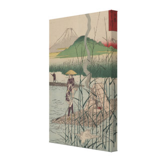 View of Mount Fiji - Vintage Image on Canvas Stretched Canvas Print