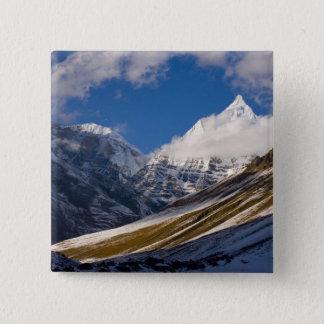View of Mount Jichu Drake, Bhutan. Button