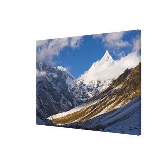 View of Mount Jichu Drake, Bhutan. Canvas Print