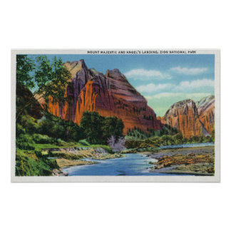 View of Mount Majestic and Angel's Landing Poster