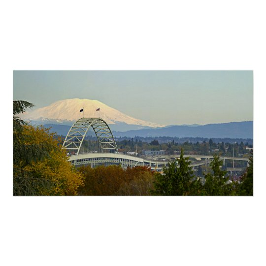 View of Mount St Helens from Vista Bridge in Portl Poster