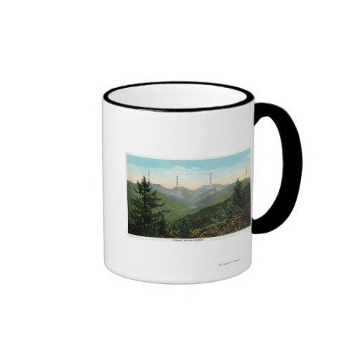 View of Mt. Marcy, Saddleback, Sawtooth Ringer Coffee Mug
