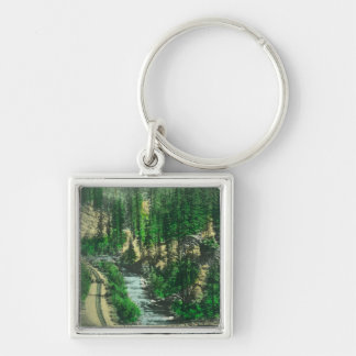 View of Mt. Shasta from Shasta Retreat Silver-Colored Square Keychain