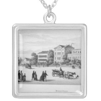 View of Munich, 1869 Silver Plated Necklace