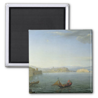 View of Naples, 1750 2 Inch Square Magnet
